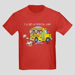 I Love My Schoolbus Kids Dark T-Shirt