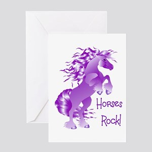 Horses Rock- Purple Greeting Card