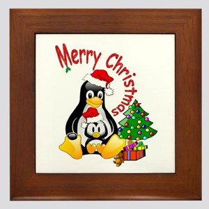 Merry Christmas Penguins Framed Tile