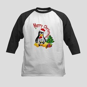 Merry Christmas Penguins Kids Baseball Jersey