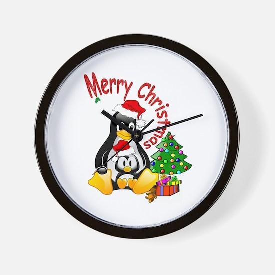 Merry Christmas Penguins Wall Clock