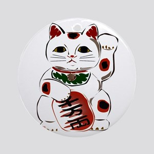White Maneki Neko Ornament (Round)