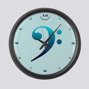 Bright Bass Clef Large Wall Clock