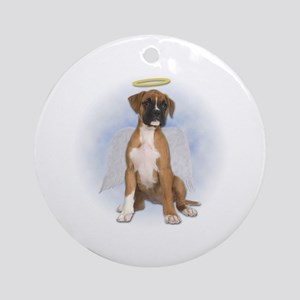 Angel Boxer Puppy Ornament (Round)