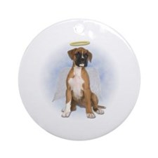 Angel Boxer Puppy Ornament (Round)