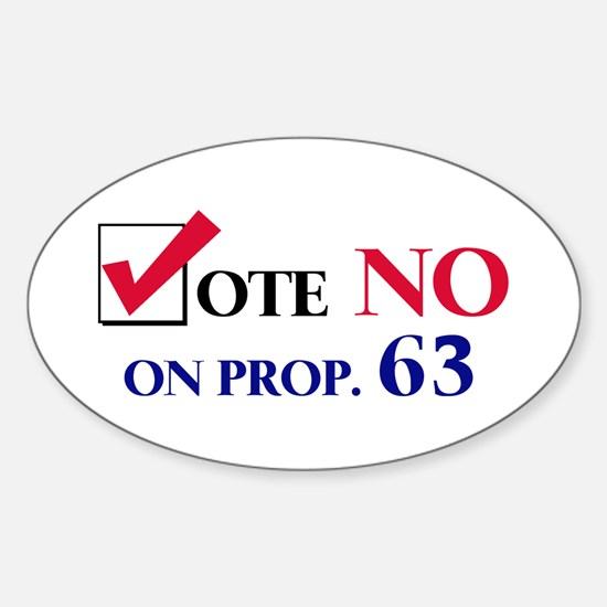 Vote NO on Prop 63 Oval Decal