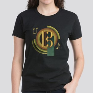Alto/Tenor Clef Deco Women's Dark T-Shirt