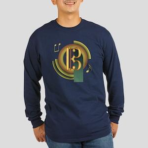 Alto/Tenor Clef Deco Long Sleeve Dark T-Shirt