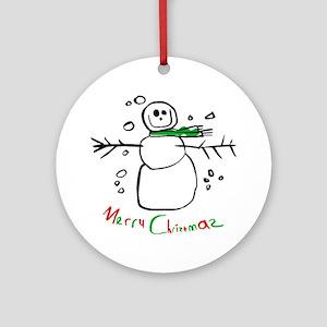 Christmas Snowman Ornament (Round)