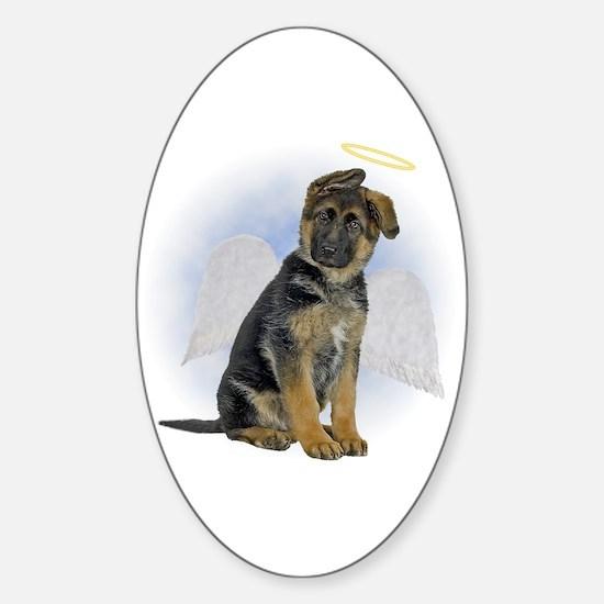Angel German Shepherd Puppy Oval Decal