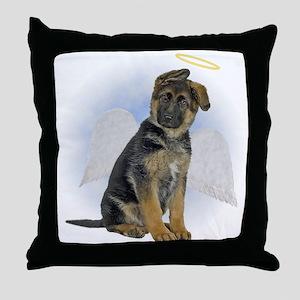 Angel German Shepherd Puppy Throw Pillow