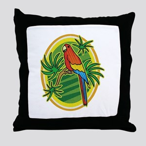 Tropical Parrot Throw Pillow