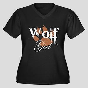 Wolf Girl Women's Plus Size V-Neck Dark T-Shirt