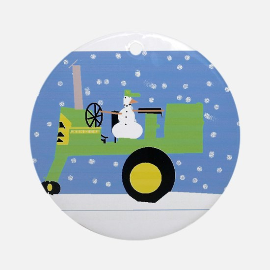 Snowman on Tractor Ornament (Round)