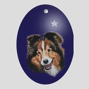 Sheltie Christmas Oval Ornament