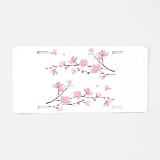 Cherry Blossom Aluminum License Plate