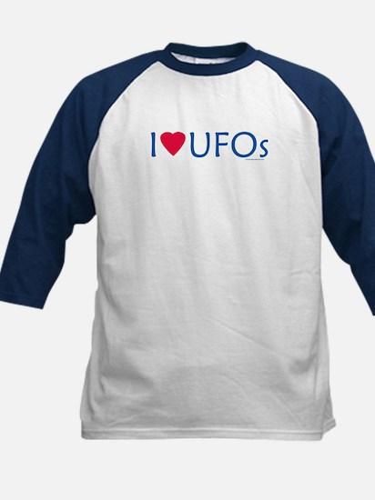 I Love UFOs - Navy/White Kids Baseball Jersey