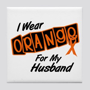 I Wear Orange For My Husband 8 Tile Coaster