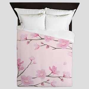 Cherry Blossom - Square Pink Queen Duvet