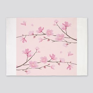 Cherry Blossom - Square Pink 5'x7'Area Rug
