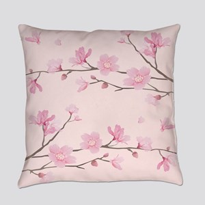 Cherry Blossom - Square Pink Everyday Pillow