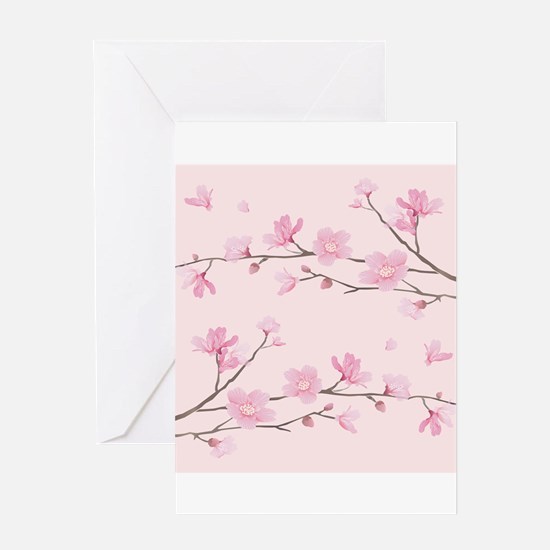 Cherry Blossom - Square Pink Greeting Cards