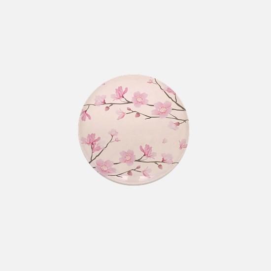 Cherry Blossom - Square Pink Mini Button