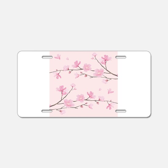 Cherry Blossom - Square Pin Aluminum License Plate