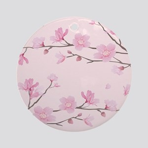 Cherry Blossom - Square Pink Round Ornament