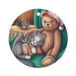 Miss B and Teddy Ornament (Round)
