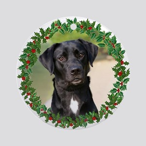 black lab holiday ornament round - Black Lab Christmas Ornament
