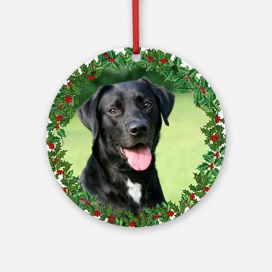 Black Lab Holiday Ornament (Round)
