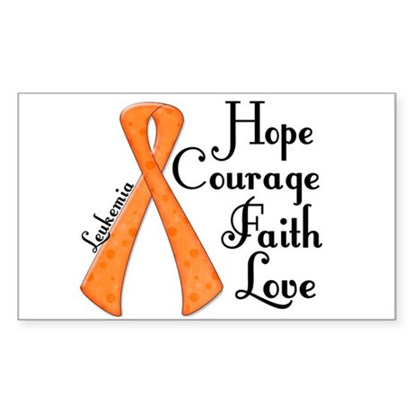 Hope Courage Faith Love LEUKEMIA Sticker (Rectangl