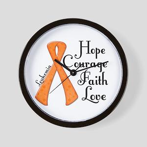 Hope Courage Faith Love LEUKEMIA Wall Clock