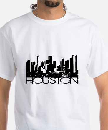 Houston Texas Downtown Graphi White T-Shirt