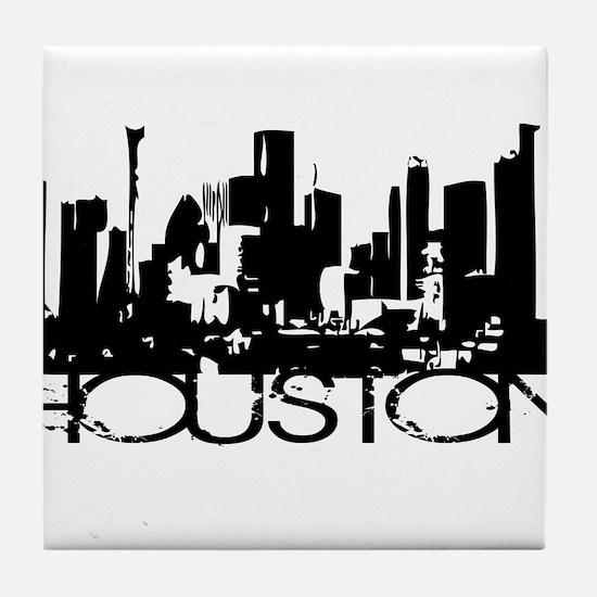 Houston Texas Downtown Graphi Tile Coaster