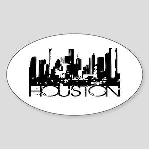 Houston Texas Downtown Graphi Oval Sticker
