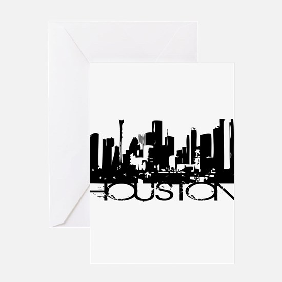 Houston Texas Downtown Graphi Greeting Card