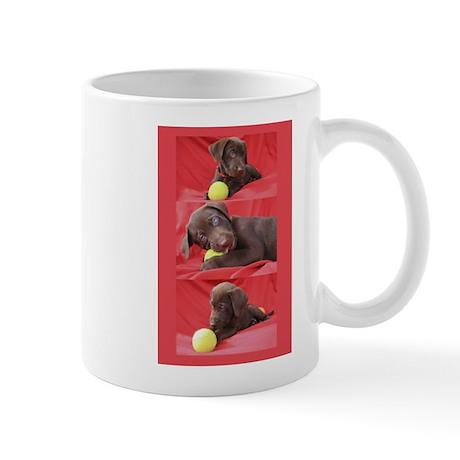 Lab Puppy Collage Red Mug