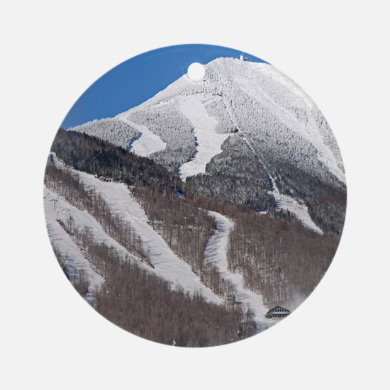 Snow Covered Whiteface Mountain Ornament (Round)