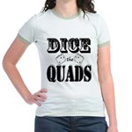 Bodybuilding Dice the Quads Jr. Ringer T-Shirt