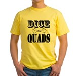 Bodybuilding Dice the Quads Yellow T-Shirt
