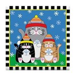 3 Kitty Cats Catching Snow Flakes Tile Coaster