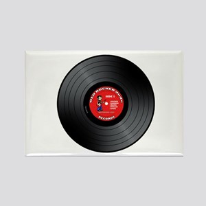 Old Rocker Dude Vinyl Record Rectangle Magnet