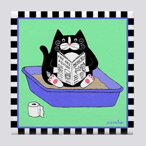 Tuxedo Cat in Litterbox (Blue) - Art Tile Coaster