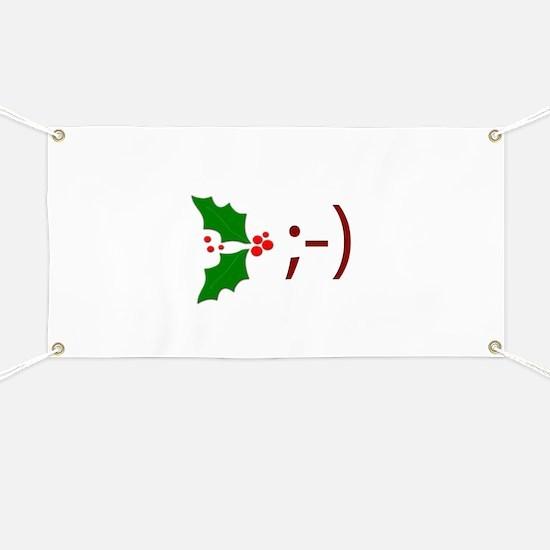 Wink Emoticon - Mistletoe Banner