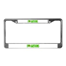 I Love-Alien Cartoons License Plate Frame