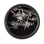 Season's Greetings - Stars Large Wall Clock
