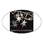 Season's Greetings - Stars Oval Sticker (10 pk)