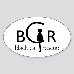 Black Cat Rescue Sticker (Oval)